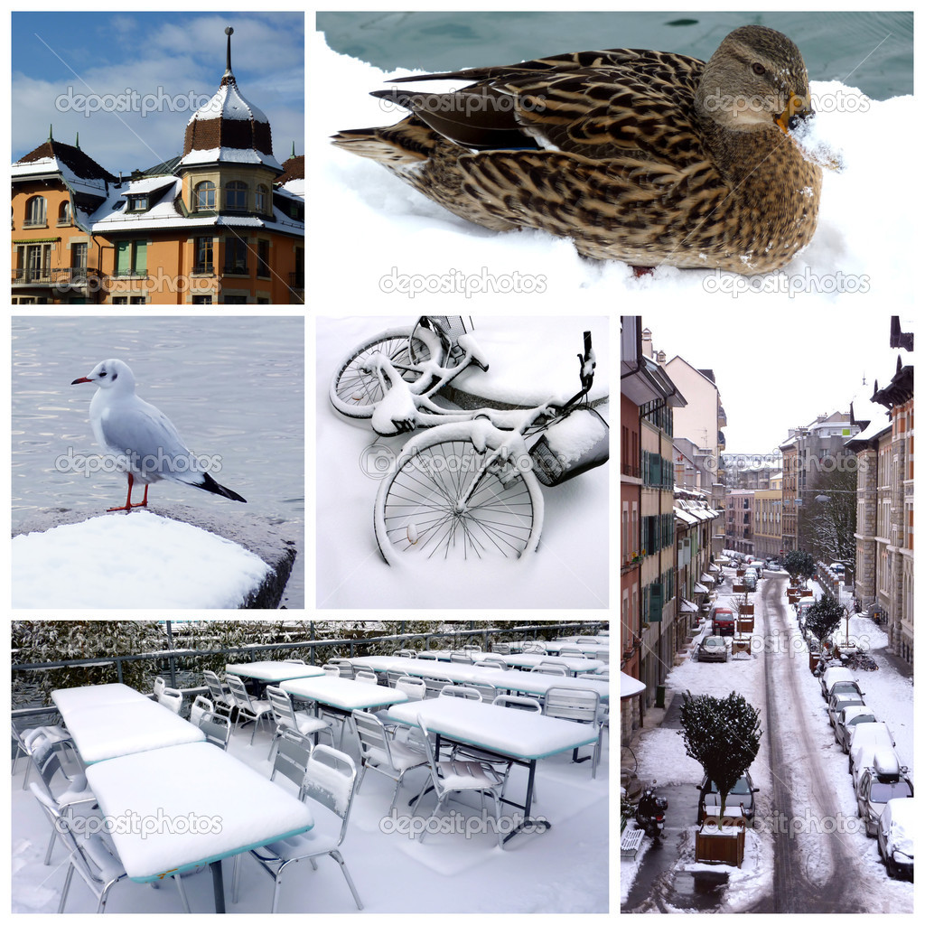 Geneva by winter, Switzerland, collage