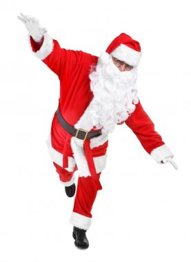 Funny pose of santa claus on white background stock vector
