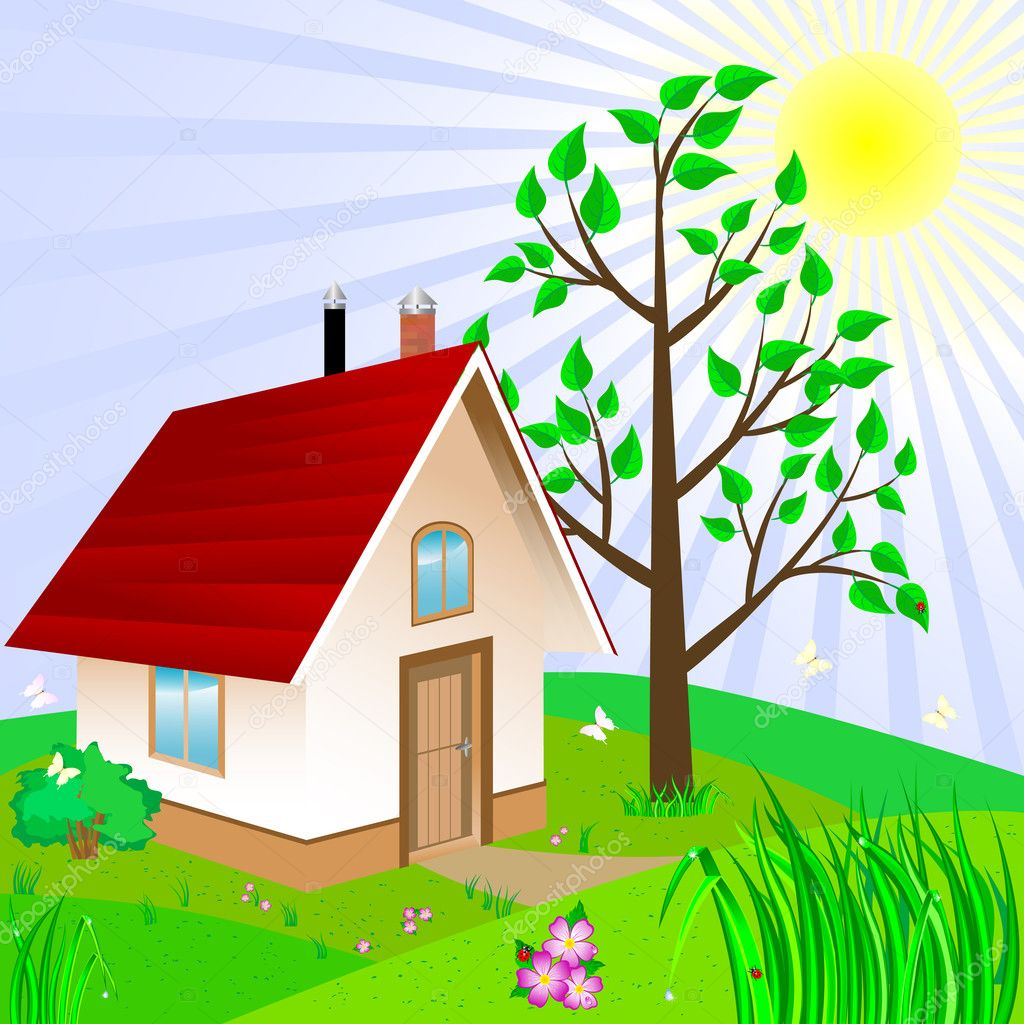 Small house stock vector lucky777 5356589 for Big cute houses