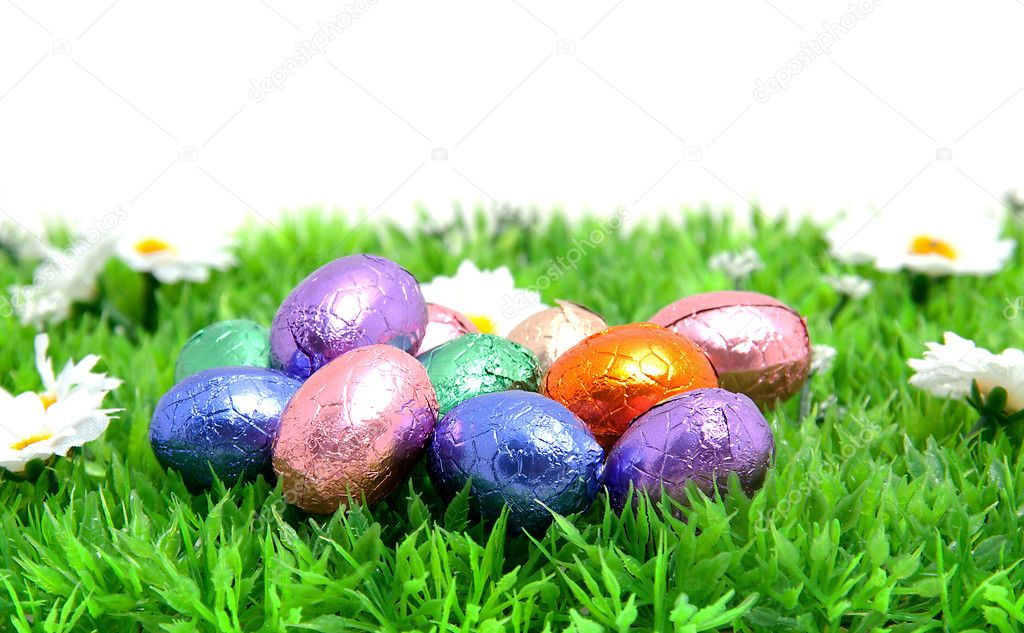 Colorful Easter Eggs In Plastic Grass Over White Background Photo By Sannie32
