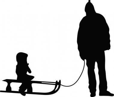 Sledding silhouette vector family father and kid stock vector