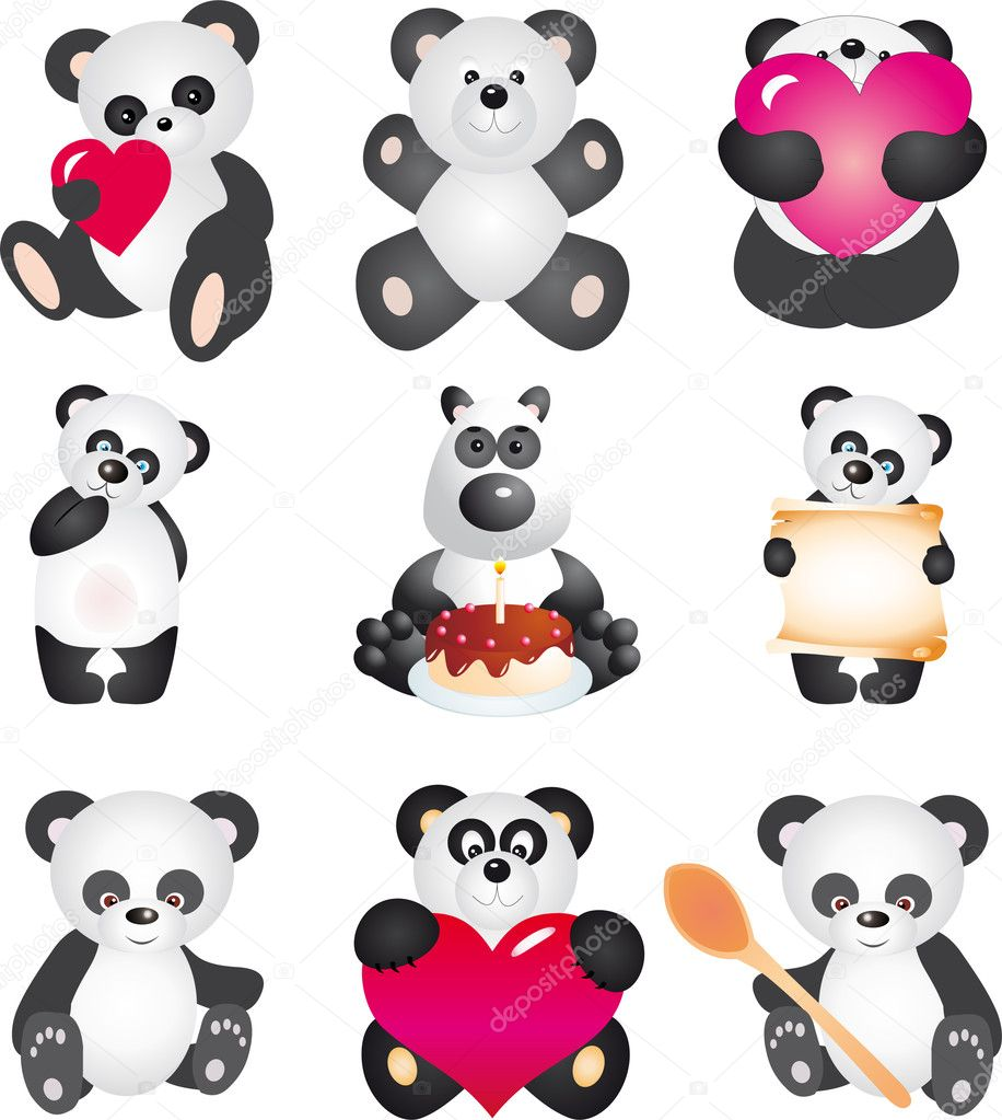 Panda. Vector collection