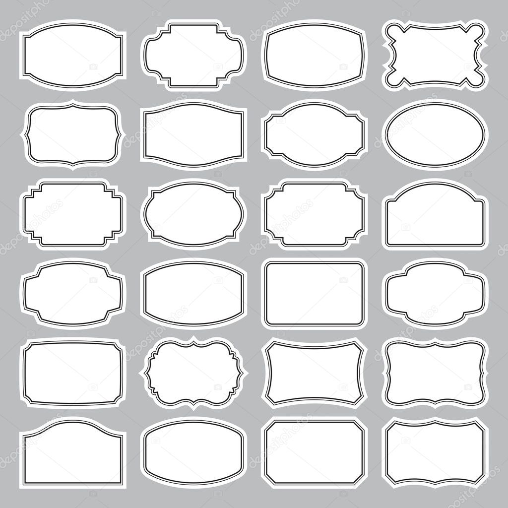 Set of 24 blank vintage labels, scalable and editable vector illustration stock vector
