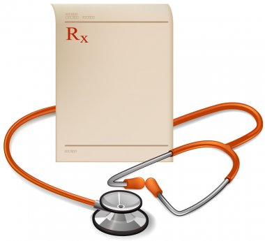 Medical perscription and Stethoscope