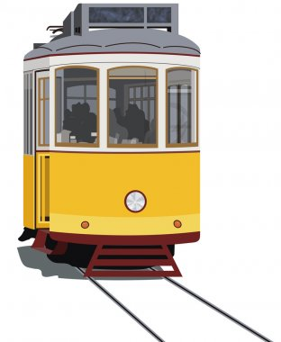 Lisbon tramway isolated in white, vector stock vector
