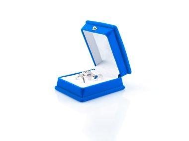 Luxury earrings in blue velvet jewelry box