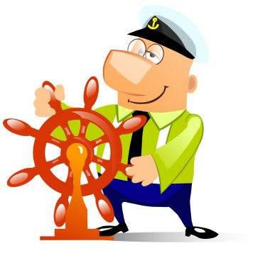Cartoon illustration of a ship captain at the helm. Isolated on white.