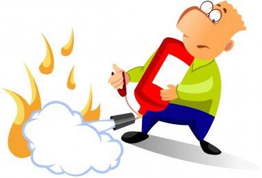 Man using fire extinguisher