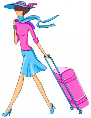 Illustration of elegant woman in hat travels with a suitcase.
