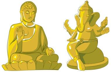 Cartoon illustration of Indian idols statue. Isolated on white. stock vector