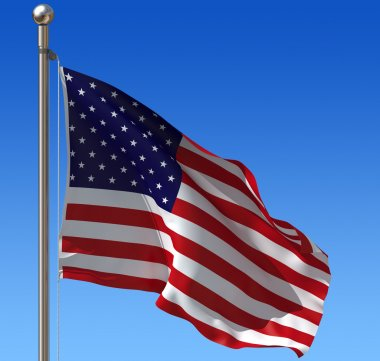 Flag of USA against blue sky