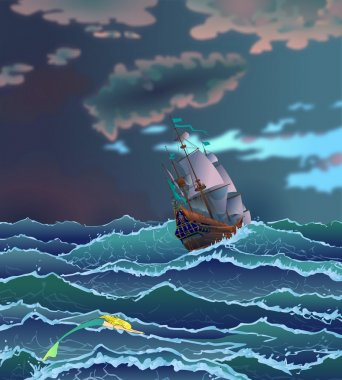 Fairy tale 4. Ship during storm.