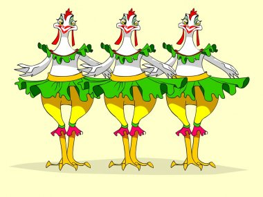 Chicken dancing the cancan.