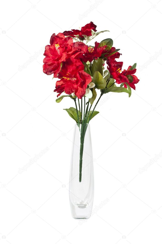 Artificial Flowers In Glass Vase Stock Photo Themule 4650350