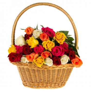 Colorful bouquet roses in basket