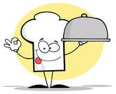 Šéfkuchař kloboukový chlapík sloužící talíř