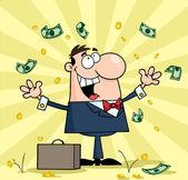 podnikatel, stojící pod padající peníze