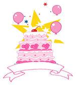 Fotografia torta di compleanno rosa con una ciliegia, star e palloncini
