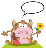Happy Cow Holding A Flower