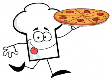 Chef Hat Holding A Pizza