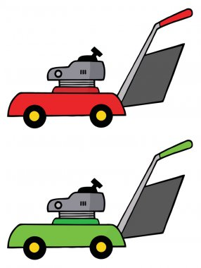 Red And Green Lawn Mowers