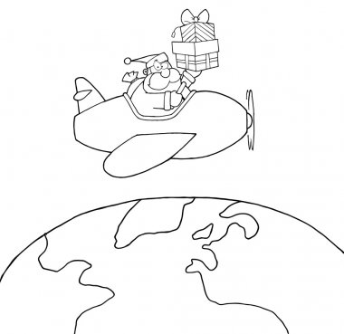 Outlined Santa Claus Holding Up A Stack Flying Around Earth