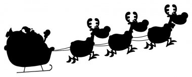 Black Silhouetted Of Magic Reindeer And Santa's Sleigh