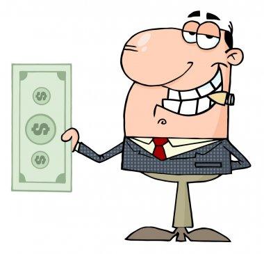 Happy Businessman Shows Big Dollar