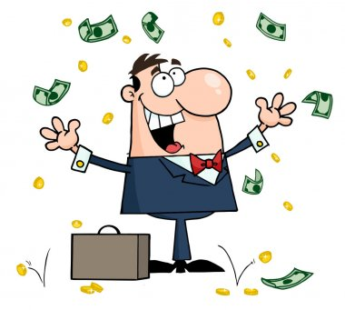Caucasian Businessman Standing Under Falling Money