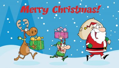 Merry Christmas Greeting With Santa Claus,Elf and Reindeer