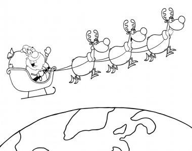 Outlined Team Of Reindeer And Santa In His Sleigh Flying