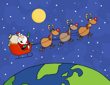 Happy Holidays Over Santa Waving And Flying Above Earth