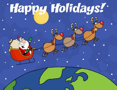 Happy Holidays Greeting With Team Of Reindeer And Santa