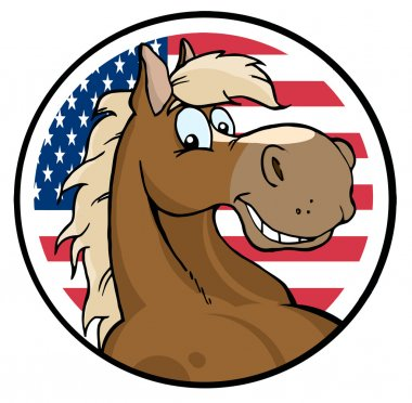 Happy Horse Face Over An American Circle