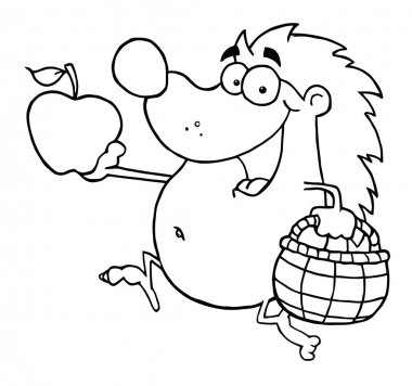 Outline Happy Hedgehog Runs With Apple