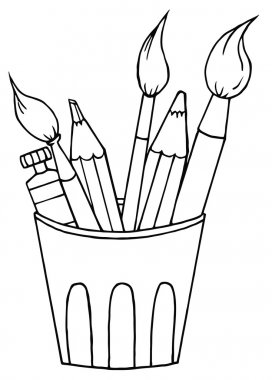 Outlined Artist Pot With Pencils And Paintbrushes