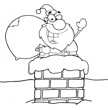 Outlined Santa Claus In Chimney
