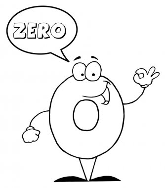 Outlined Friendly Number 0 Zero Guy With Speech Bubble