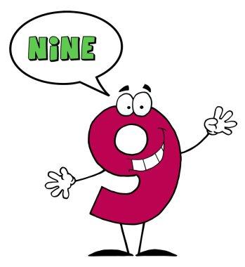 Number Nine Character Saying Nine