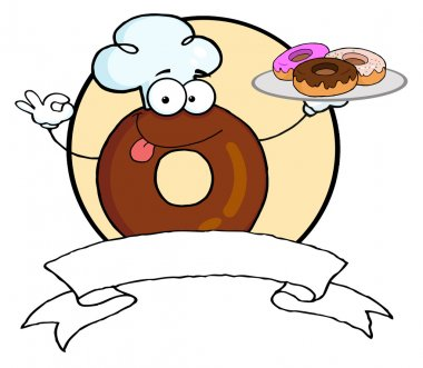 Friendly Donut Chef Cartoon Character Holding A Donuts Banner