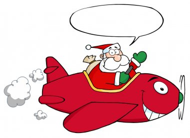 Santa Flying With Christmas Plane