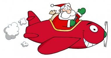 Santa Flying A Plane