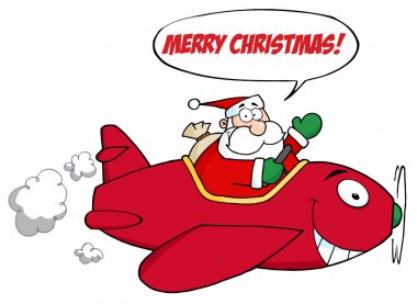 Santa Saying Merry Christmas And Flying A Plane