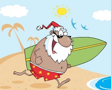 Black Santa Running With A Surfboard