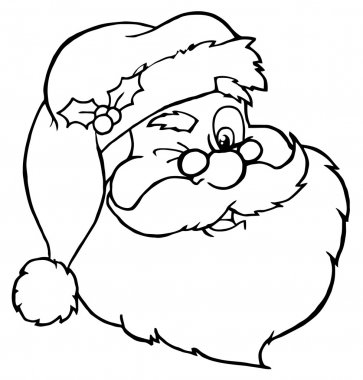 Outlined Winking Santa Face