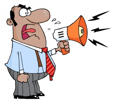 Hispanic Businessman Yelling Through A Megaphone