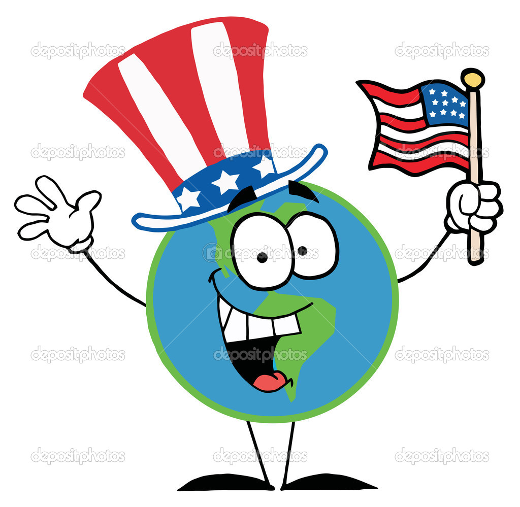 globe cartoon characters with american flag stock photo American Flag Border Clip Art Animation Waving Flag Clip Art