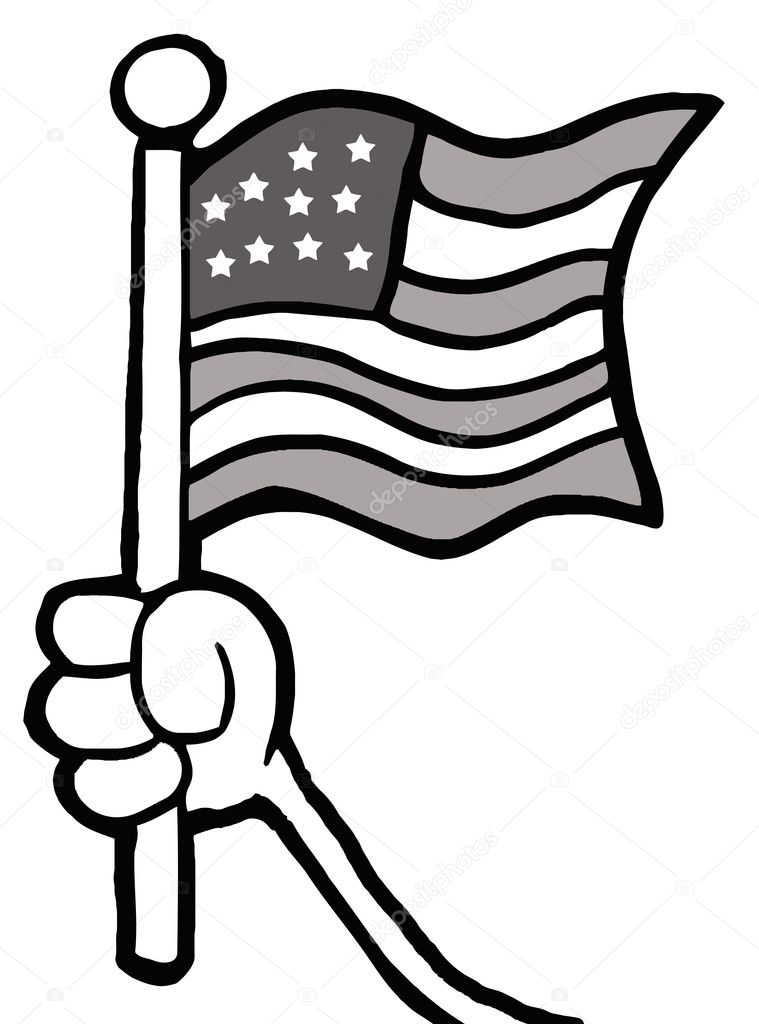 Grayscale Hand Waving An American Flag