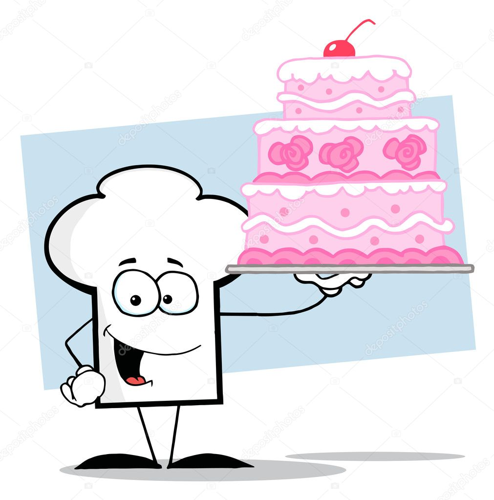 Chef Hut Kerl Halt Eine Rosa Hochzeitstorte Stockfoto C Hittoon