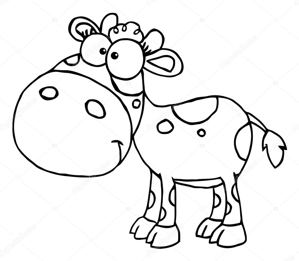 Coloring Page Outline Of A Calf With Spots Photo By HitToon